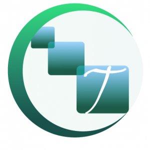 Logo con la letra t y la c con cuadros que reflejan union for Logos con letras