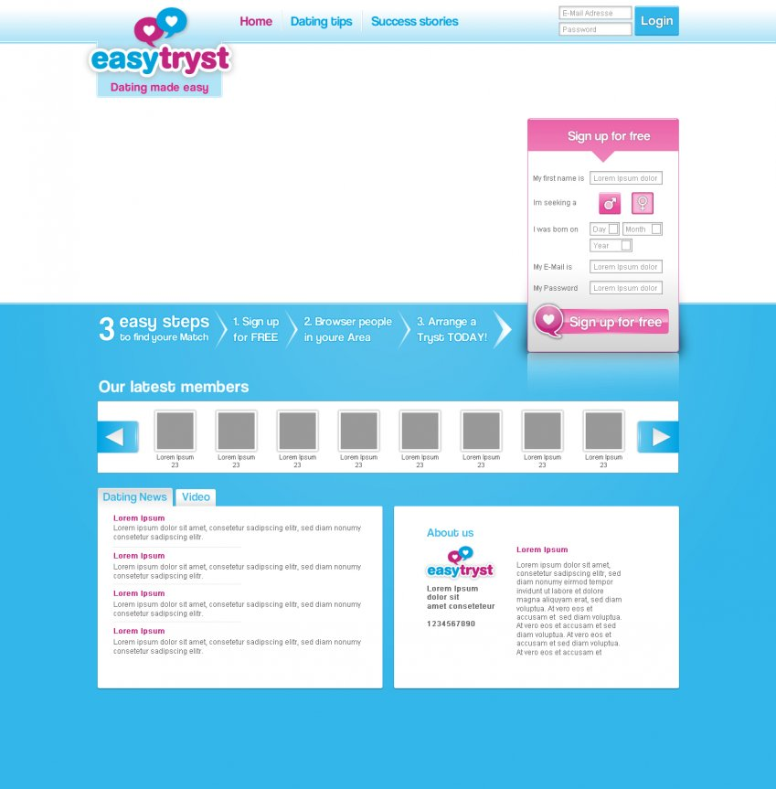 Landing page easytryst version 2